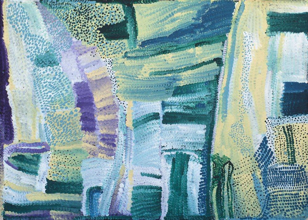 Œuvre de l'artiste Aborigène Bugai Whyoulter. Titre : Wantili Claypan (Well 24). Format : 152 x 108 cm. © Photo Aboriginal Signature Estrangin with the courtesy of Martumili Artists