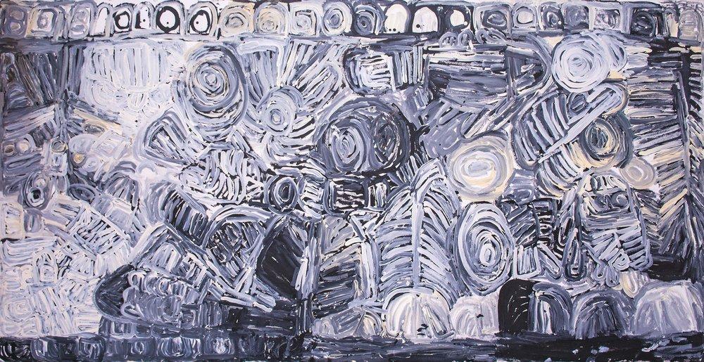 Peinture de l'artiste Aborigène Sonia Kurarra. Titre : MARTUWARRA. Format : 240 x 120 cm. © Photo Aboriginal Signature Estrangin gallery with the courtesy of the artist and Mangkaja Arts.