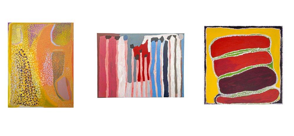 Œuvres des artistes Nada Rawlins (format : 120 x 90 cm), Lisa Uhl (format 120 x90 cm), Wakartu Cory Surprie (90 x 90 cm).    Plus d'information.