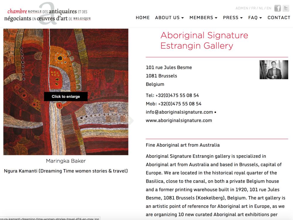 Chambre Royale des antiquaires et néagoiants en œuvres d'art - Aboriginal Signature Estrangin gallery