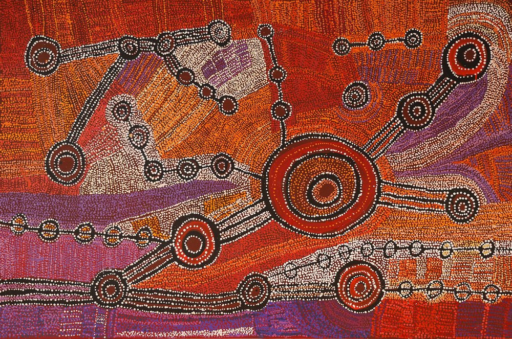 Œuvre de l'artiste Willy Muntjantji Martin (1950 - 2018). Format : 183 x 122 cm. © Photo : Aboriginal Signature with the courtesy of the artist and Mimili Maku arts.