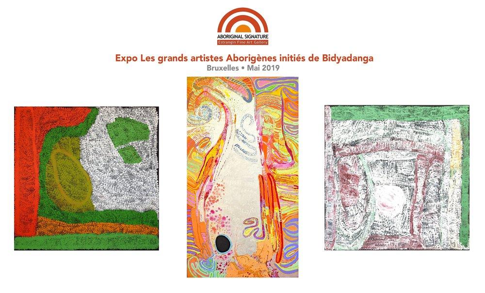 Œuvres des artistes Lydia Balbal, et Daniel Walbidi, deux artistes majeurs des Yulparija de Bidyadanga,