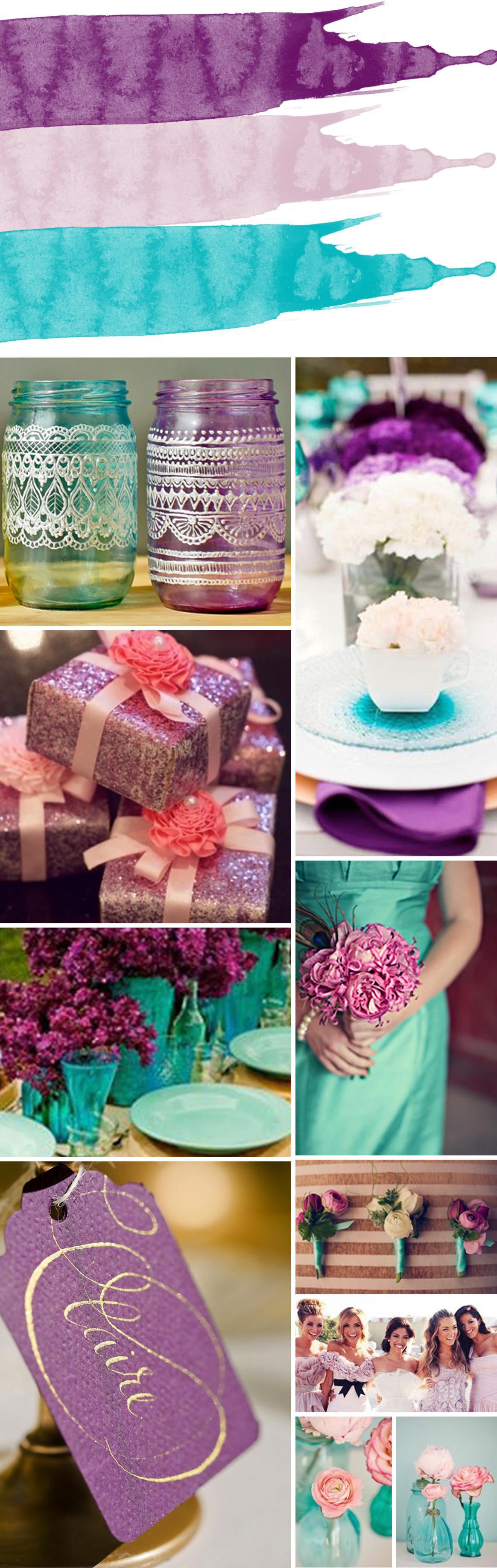 Turquoise, Mauve and Purple Color Palette