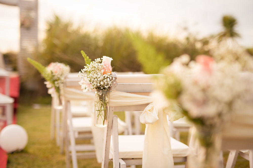 Decoration was in subtle and romantic tones of white and pink.