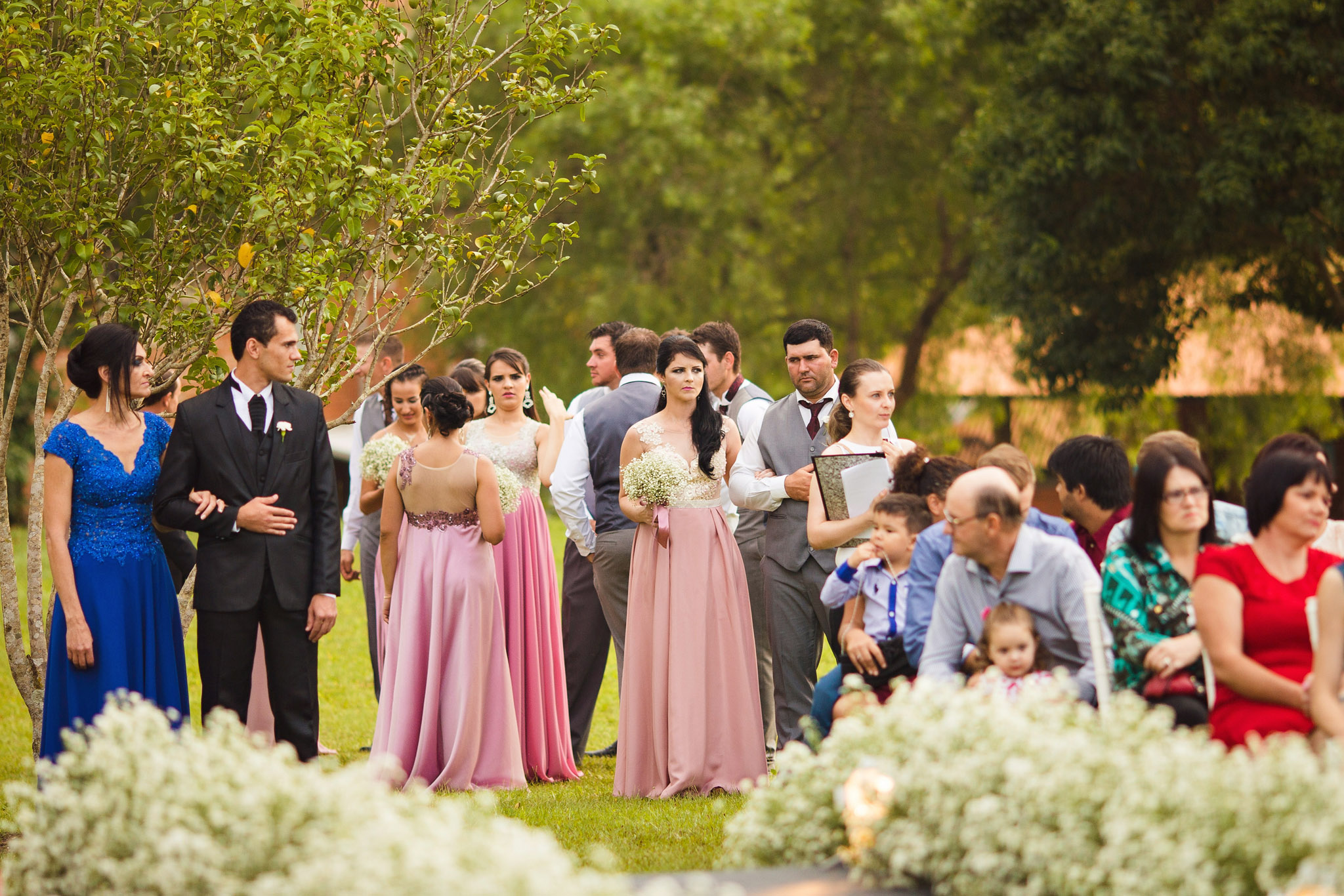 Bridesmaids and groomsmen getting ready.