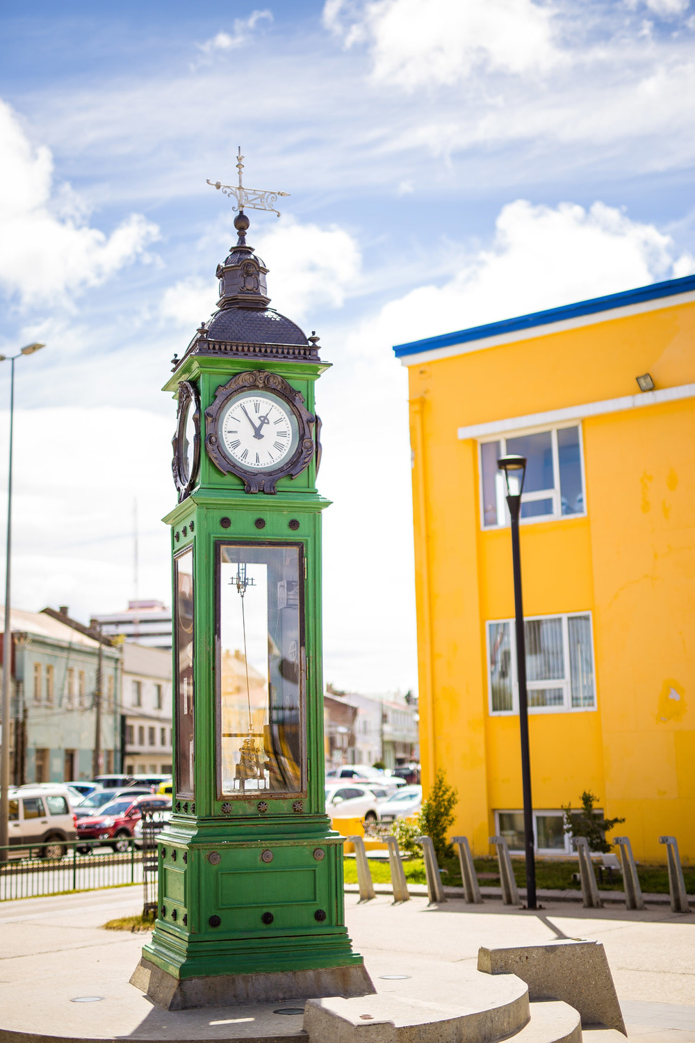 Wedding-Travellers-Destination-Wedding-Overlanding-Punta-Arenas-Chile-historic-clock-green
