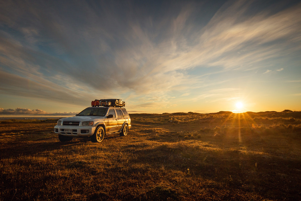 Wedding-Travellers-Destination-Wedding-Overlanding-Chile-Tierra-del-Fuego-sunset-golden-hour-gold-yellow