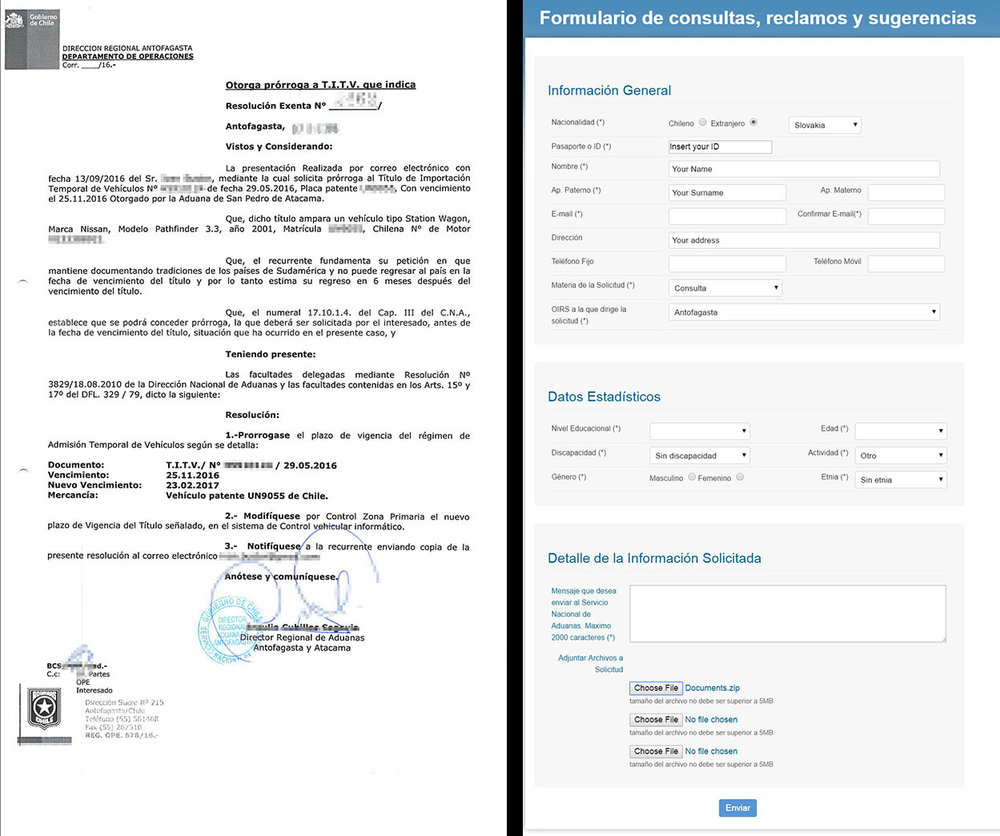 The final extension and the form on aduana.cl website