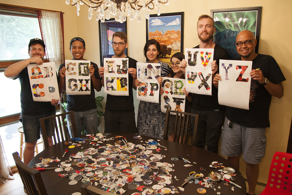 The gang and their completed alphabet. Session Two saw the return of Gestalt veterans Jeanette and Anthony.