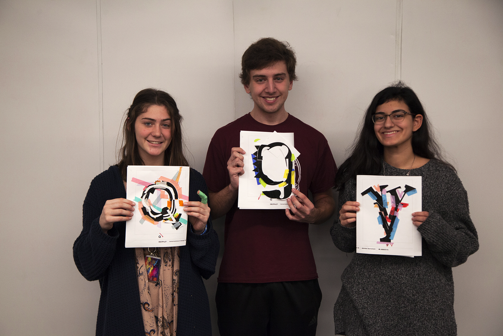 The three prize winning students for exemplary letterforms.