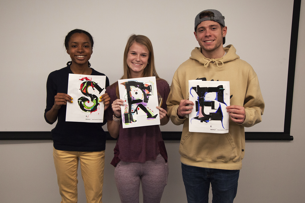 The second set of prize winning students for exemplary letterforms.