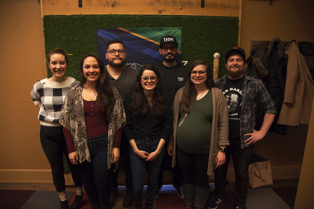 The team: (from left to right) Beth Fileti, Samantha Roth, Kevin Greene, Jeanette Pidi, Mike Sulick, Kati Pantone, and Alex Flannery. All session photography courtesy of Joe Piccirilli.