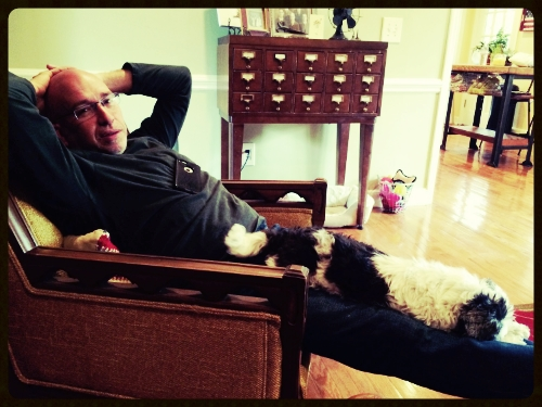 Matt and Mollie stretched out while visiting with The Girl