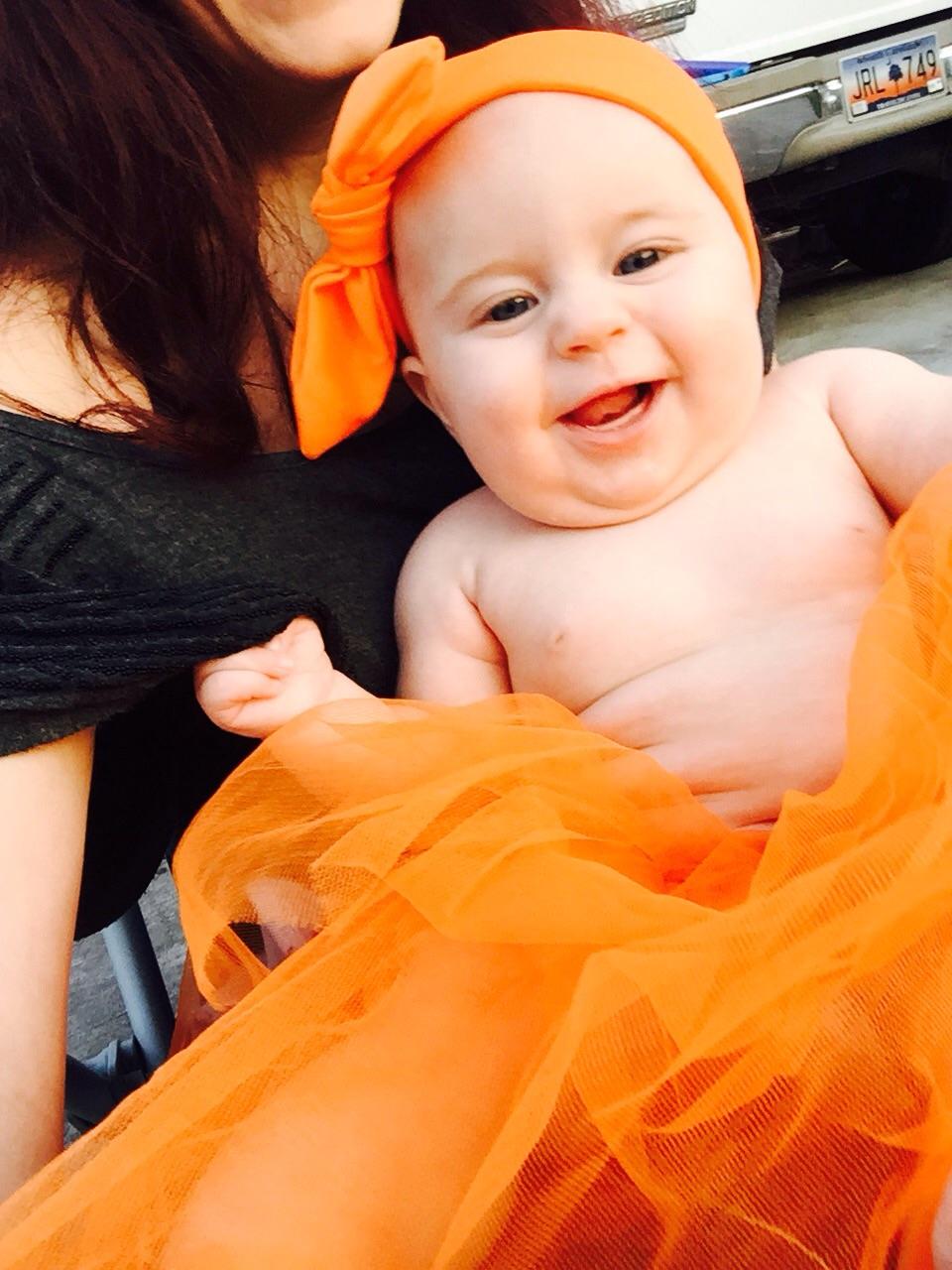 Pumpkin Princess greeting her trick-or-treaters!