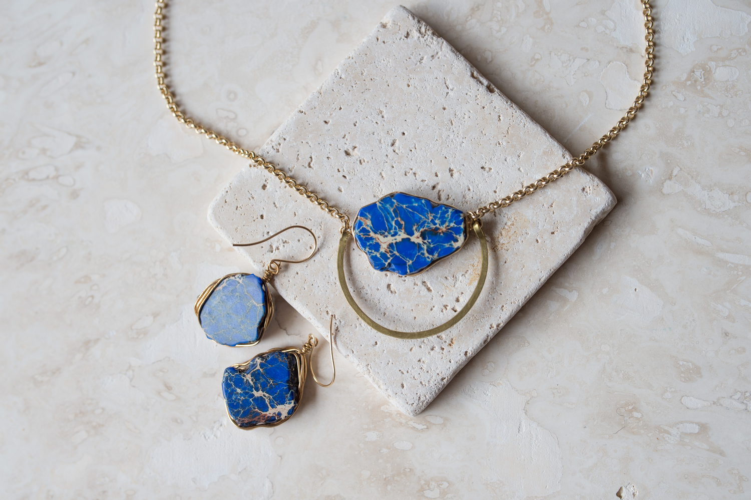 Royal Blue Impression Jasper Wire Wrapped Earrings and Necklace ...