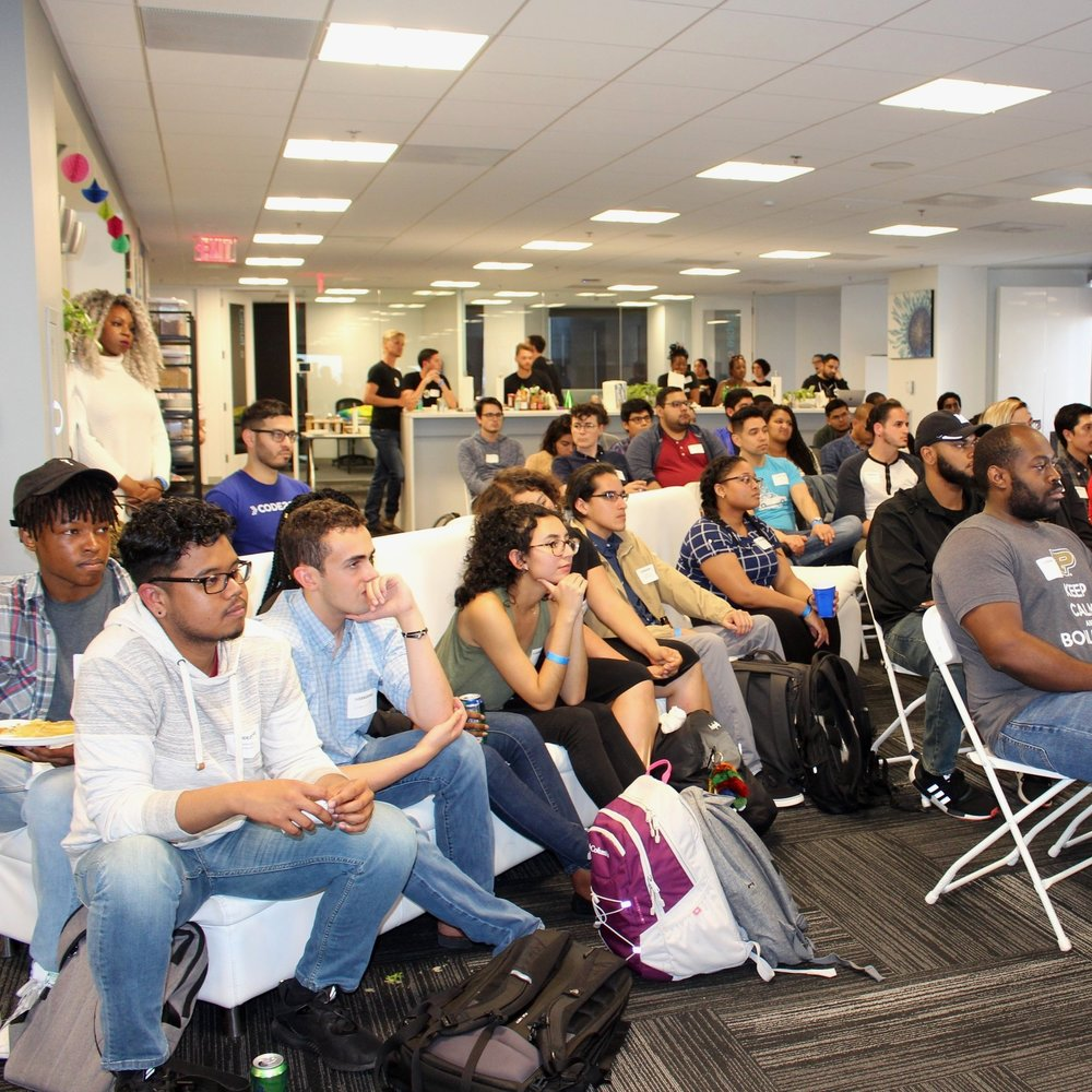 Popups - Created in 2018, Code2040's new PopUp Series will pilot an outgrowth of the organization's successful student-focused programs like the Fellows Program, and events like the Summit, with a series of stand-alone workshops and panels designed to engage a broader community of participants, particularly rising Black and Latinx tech professionals. These PopUps will be hosted by trusted, mission-aligned company partners, scaling Code2040's ability to create unique spaces for Black and Latinx experiences across the industry.