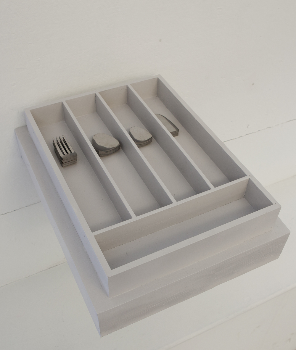 "set of 12 stainless steel, cut silverware, painted wood laminate drawer organizer, shelf.  set of 12 stainless steel, cut silverware, painted wood laminate drawer organizer, shelf,  12"" x 15"" x 4"""