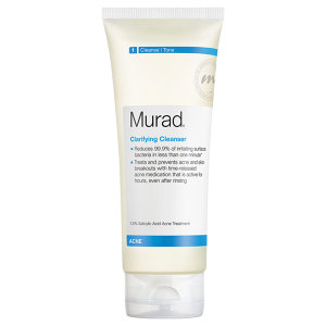 1. MURAD  Clarifying Cleanser $26    This is one of the very first of the more expensive cleansers I'd ever bought. I always go back to this one and have it on-hand so if I need to switch cleansers for a bit of having a bit of a break-out, this really helps in aiding to clear it up! It's gentle enough to use even on sensitive skin for every--day, but you definitely want to make sure that you use a moisturizer following as it can dry your skin due to the strength in formula> 1.5% Salicylic Acid, Menthol, and Camellia Oleifera Leaf Extract (Green Tea)