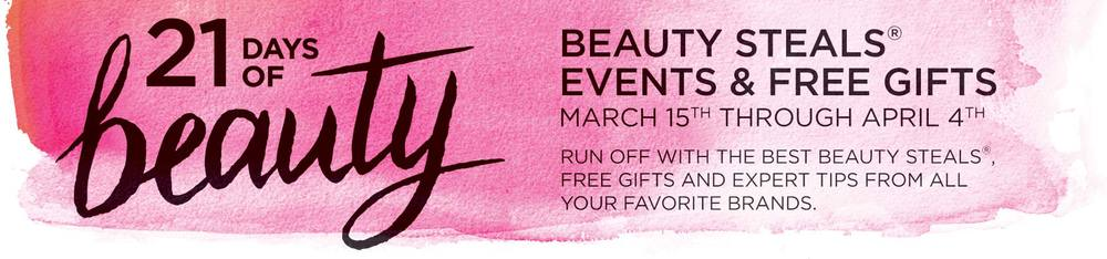 ULTA 21 DAYS OF BEAUTY EVENT!!!!    LOOKS LIKE ULTA IS HAVING AN AWESOME SALE AND SOME BEAUTY STEALS FOR A COUPLE OF MORE WEEKS!