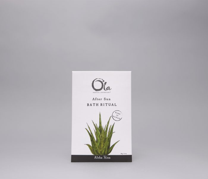 Ingredients: Sodium Bicarbonate, Coconut Milk Powder(Cocos Nucifera)*, Honey Powder(Mel Mellis), Rice Bran Powder (Oryza sativa)*, Aloe Vera(Aloe Barbadensis) Extract of Aloe Vera(Aloe Barbadensis) Gel and Aqua; Alcohol Extract of Sugar Cane (Saccharum Officinarum)*, Moloka'i Sea Salt(Sodium Chloride), Seaweed(Alga)*, Kava Root (Piper methysticum)*, Passion Flower (Passiflora), Spirulina Powder(Arthrospira Platensis), Potassium Sorbate; Turmeric(Olena) Powder (Curcuma longa), Alcohol Extract of Olena Root (Curcuma longa)*, Ginger Root(Zingiber Officinal)* , Mamaki Leaf(Pipturus Albidus)* , Aloe Vera (Aloe Barbadensis)*, Passion Flower (Passiflora), Noni(Morinda Citrifolia)*; Noni Powder(Morinda Citrifolia)*, Tamanu Oil (Calophyllum inophyllum).