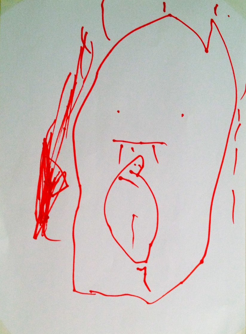 "Drawing by Damien Dejos, my eldest son: ""Mama with Baby in Tummy"""