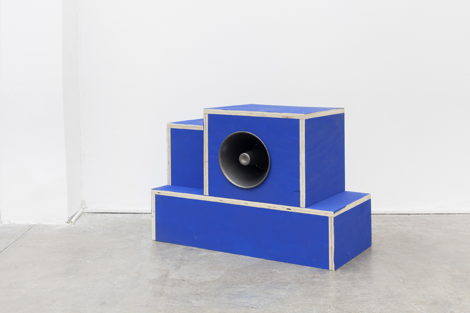 Test Pattern (National Anthem of Chile), 2015. Plywood, latex, speaker, high frequency.