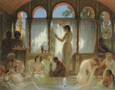 """""""Haremsbadet"""". Målning av Philippe-Jacques van Bree (1786-1871)."""