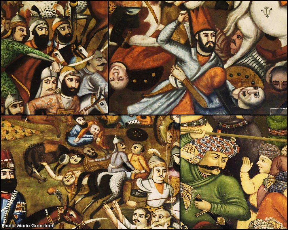 Fler detaljer från målningen föreställande slaget vid Karnal 1739.