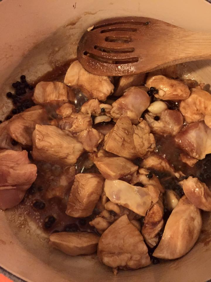 Adobo in the early stages of cooking down