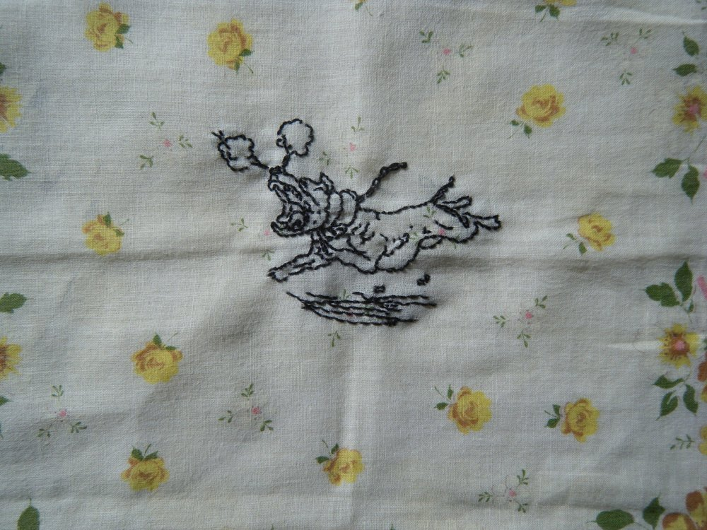 Hand stitched on vintage hankie.  Private collection of  Ellen Schinderman.