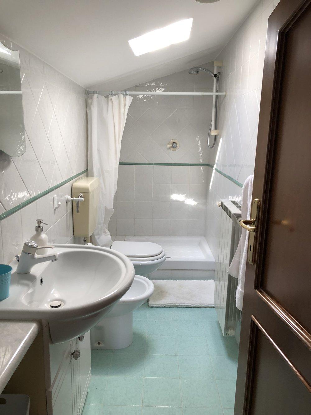 Upstairs bathroom: shower