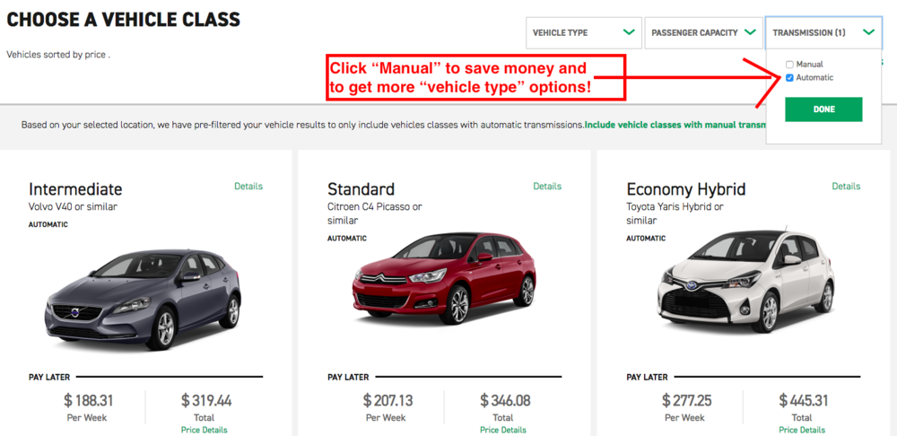 "Screenshot from Enterprise Car Rentals website: Click the option ""manual"" transmission to save money and get more vehicle class options."