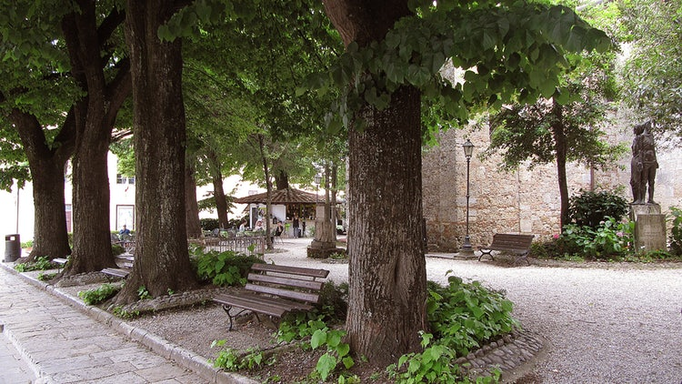 Outdoor cafe in the center of Chiusi - located between the Cathedral and the Etruscan Museum - just steps from our front door.