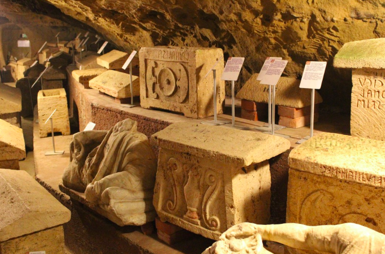 Etruscan tomb markers in the underground city