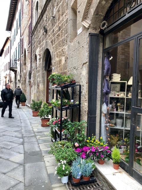 Flower shop along the main street (in winter).
