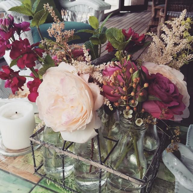 Beautiful fresh cut flowers make a dinner party extra special.  #flowers #freshcut #vermontlife #solstice #summer #roses #garden #fromthegarden #gardenfresh