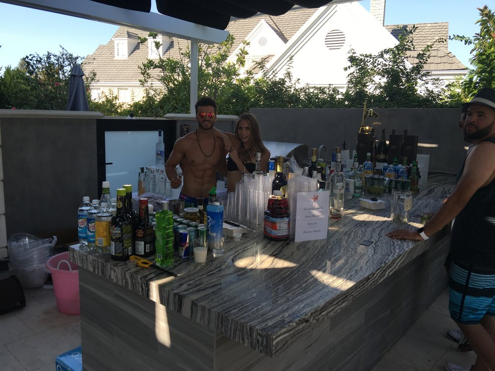 Ajdin & Miranda bartending shirtless/bikini at a pool party!