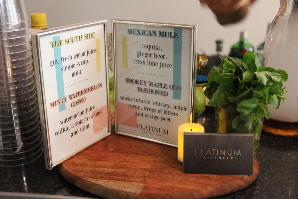 Bartending Services - Platinum Cocktail Menu
