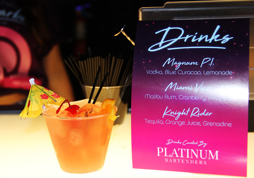 80's inspired cocktail menu by Platinum Bartenders!