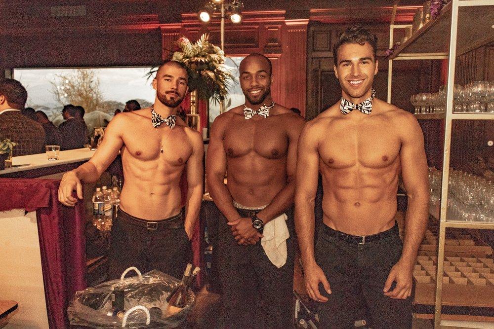 Cody, Darius and Nick bartending!