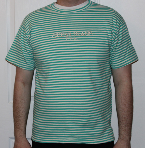1d9e5ebd Vintage Guess Jeans USA Turquoise / White Striped T Shirt (Size One Size  Fits All). guess1.jpg
