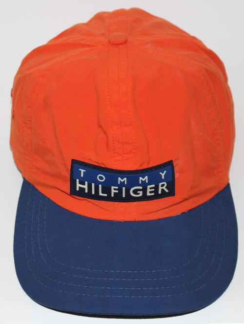 f2735115700 Vintage Tommy Hilfiger Orange Navy Logo Golf Hat. orang hil.jpg