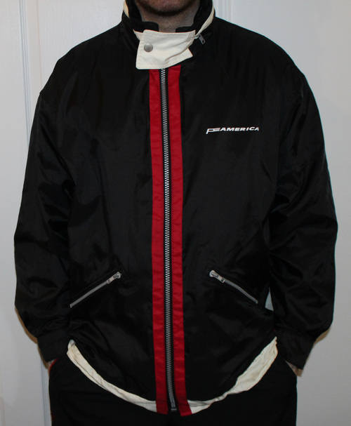 e71f1fb128 Vintage Perry Ellis America Black Red Spell Out Jacket (Size M) — Roots