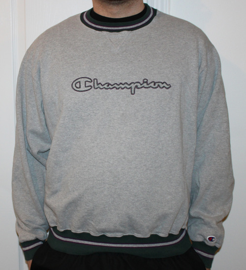 Vintage Champion Heather Grey/Purple/Green Crew Neck Sweatshirt ...