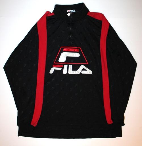fila 1 4 zip. vintage fila monogram black / red 1/4 zip shirt (size xxl) 1 4