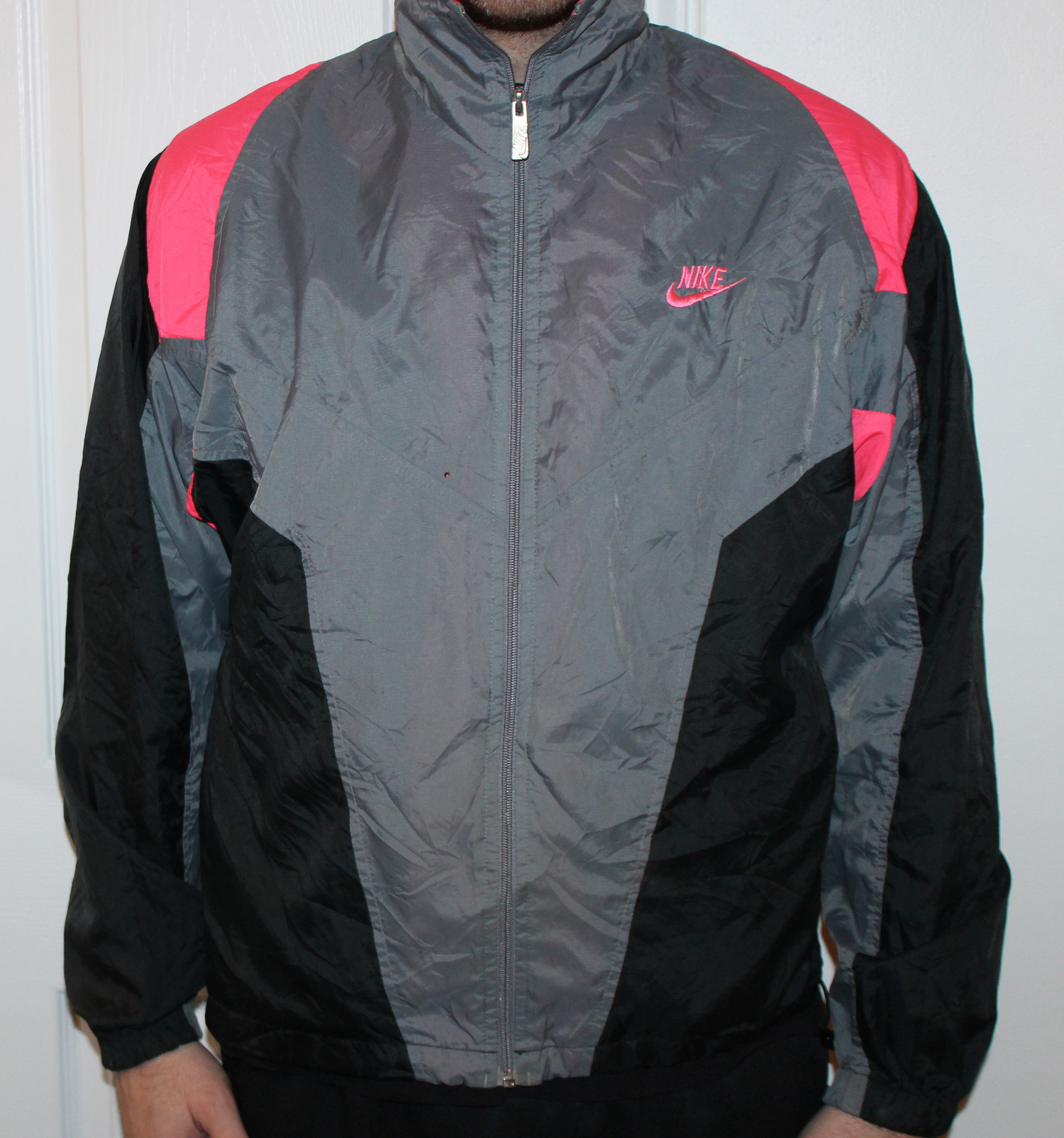 7d979f86bc42 Vintage Nike Windbreaker Grey   Black   Infrared (Size M) — Roots