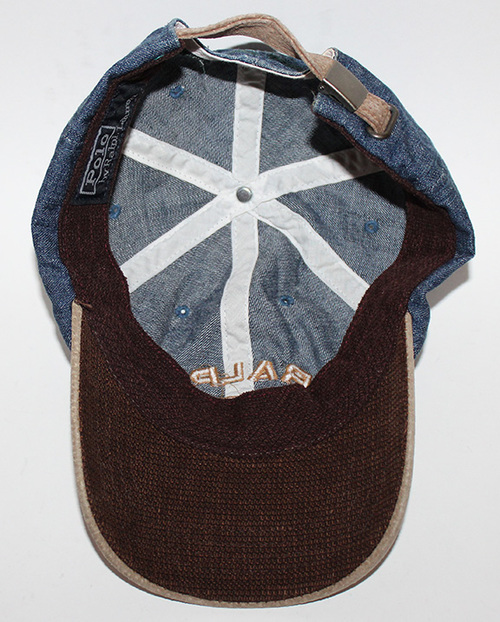 146a0544384 Vintage Polo Ralph Lauren denim embroidered hat. inside polo ralph hat .jpg
