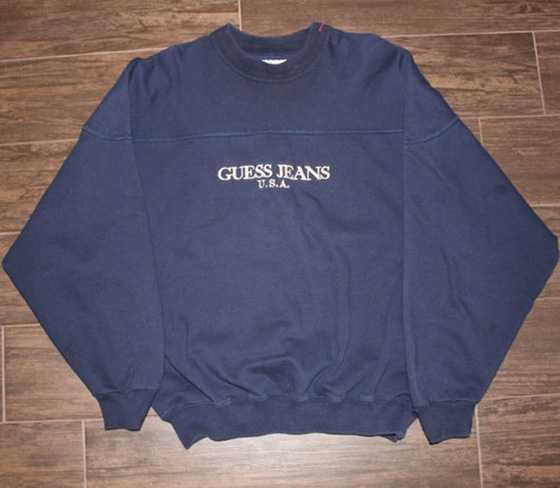 dfa6fca9f Vintage Guess Jeans USA Navy Crew Neck (Size L) — Roots