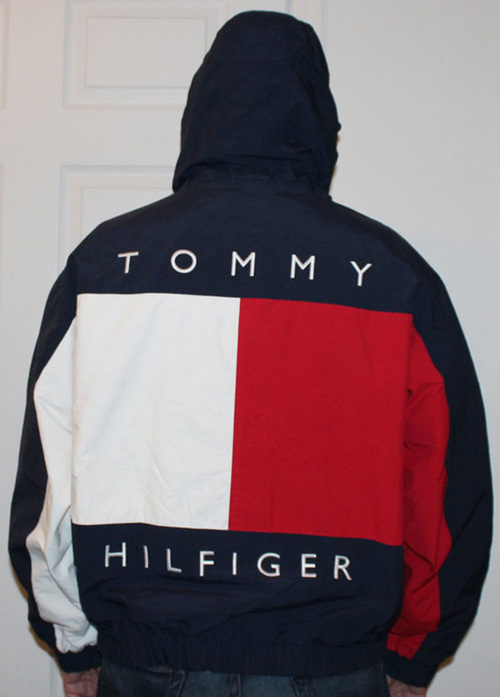 Vintage Tommy Hilfiger Big Logo Reversible Jacket Size L Roots
