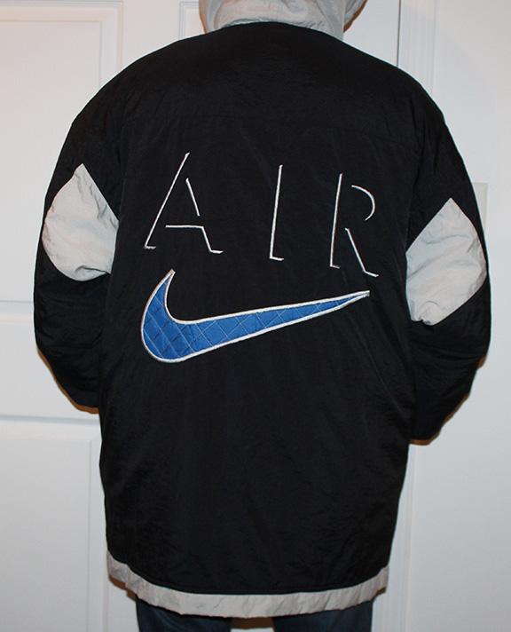 90f36a09037a Vintage Nike Big Swoosh Logo Black   Blue   Grey Long Coat (Size XL) — Roots